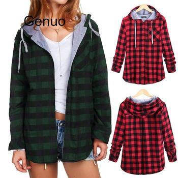 цена на Fashion Women's Winter Sweatshirt Long Sleeve Plaid Hooded Coat Blouse Casual New Autumn Warm Ladies Female Blouse