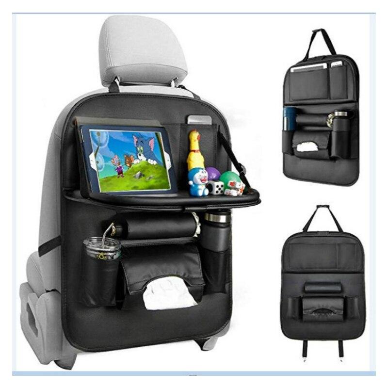 Pu Leather Pad Bag Car Seat Back Car Hanging Bag Multi-Pocket Storage Bag Foldable Dining Table Car Seat Storage Stowing Tidying