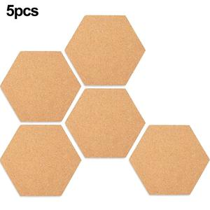 5 PCS Beautifully Designed Hexagonal Cork Boards Hexagon Cork Board Tiles Tiles Self Adhesive,Mini Wall Bulletin Boards For Home(China)