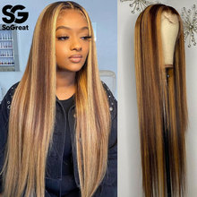 Highlight Wigs Lace Front Human Hair Ombre Straight 28 30 Inch Wig Brazilian 13x1 Hd Full Frontal Honey Blonde Lace Front Wigs
