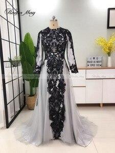 Image 4 - Vestidos de Noche grises y musulmanes hiyab de manga larga, vestido árabe para baile de graduación, apliques de Dubái con cuentas para mujer, vestidos formales de fiesta de boda 2019