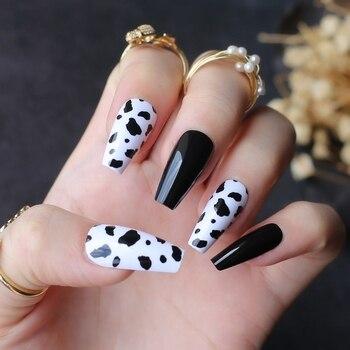 Black white mix and match cow print fake nails Medium coffin false nail UV design gel popular Black spots 1