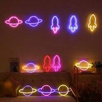 Led Neon Licht Bunte Rakete Neon Zeichen Planet Schreibtisch Lampe für Zimmer Home Party Hochzeit Dekoration Weihnachten Geschenk Neon Lampe