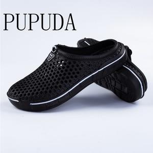 Image 1 - PUPUDA mokasen erkekler yaz plaj ayakkabısı açık rahat terlik erkekler ev hafif ev terliği erkekler ev terlikleri kadınlar