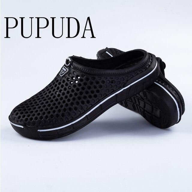 PUPUDA mokasen erkekler yaz plaj ayakkabısı açık rahat terlik erkekler ev hafif ev terliği erkekler ev terlikleri kadınlar