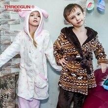 THREEGUN Kids 어린이 목욕 가운 플란넬 어린이 소년 갈색 목욕 가운 겨울 잠옷 1 가운 + 1 바지 따뜻한 잠옷 7 12 년