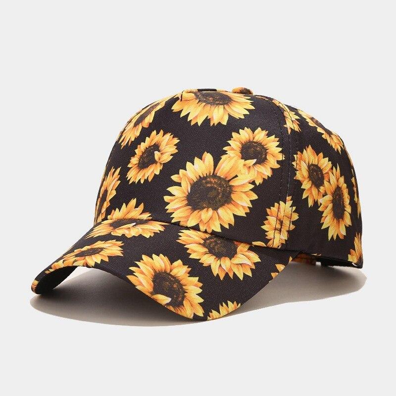 Baseball Cap Adorable Floral Print Sun Caps Fishing Hat For Men Women Embroidered Snapback Flat Bill Hip Hop Hats Women Caps