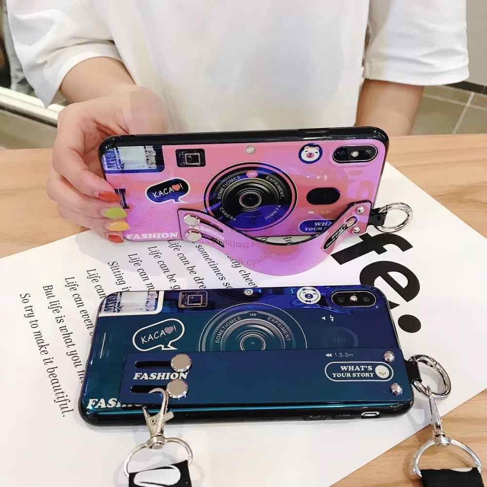 กล้องสำหรับ Samsung Galaxy S8 S9 Plus S7 edge S10e S10 5G หมายเหตุ 10 pro A20 A50 A70 soft Coque กับ Lanyard และวงเล็บ
