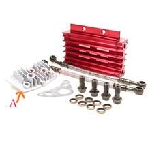 Kit refrigerador de óleo cnc radiador adaptador de alumínio motor cilindro capa de resfriamento para atv pit dirt bike motocross motocycle 50cc-125cc
