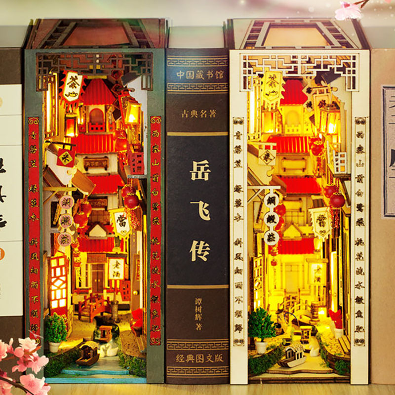 New DIY Alley Book Nook Chinese Water Town Model Building Bookcase Wooden Bookend Bookshelf Kit Craft Toy for Birthday Gift Casa
