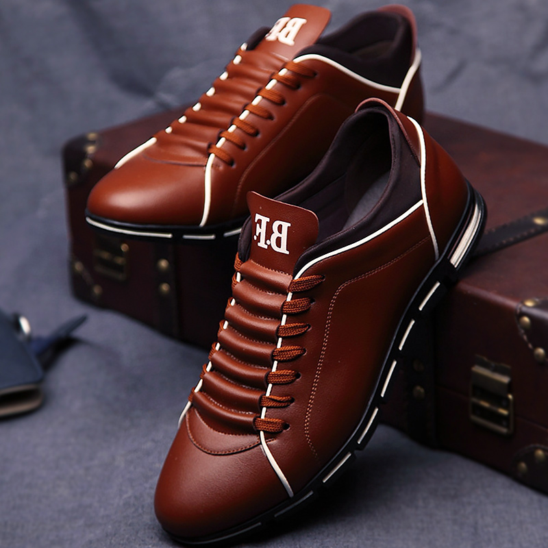 2019 Fashion Mens Sneakers Casual Solid Lace-up Men Shoes Sneakers Flats Comfortable Sneakers Men Pu Leather Zapatos De Hombre