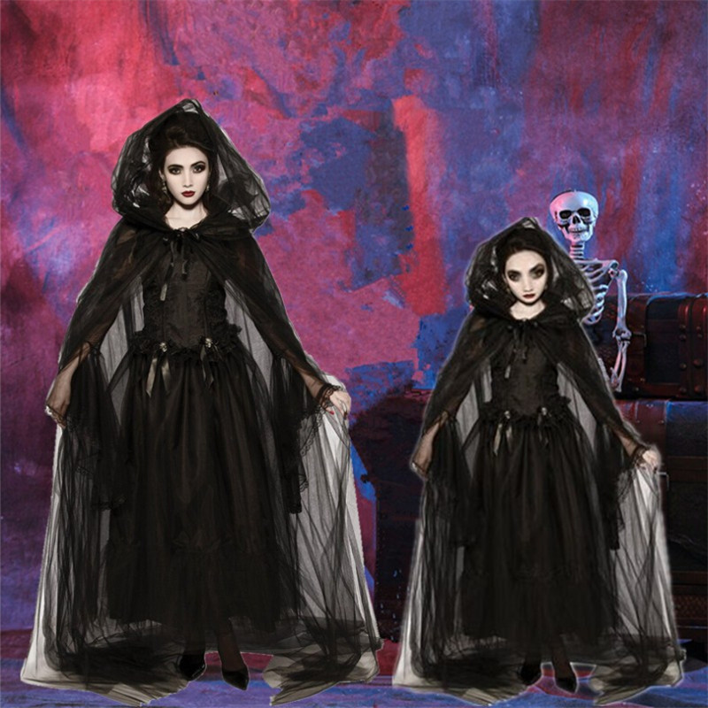 Halloween Women Girl Mom Daughter Witch Costume Cosplay Masquerade Costume Wizard Black Cloak Dress Family Matching Outfits
