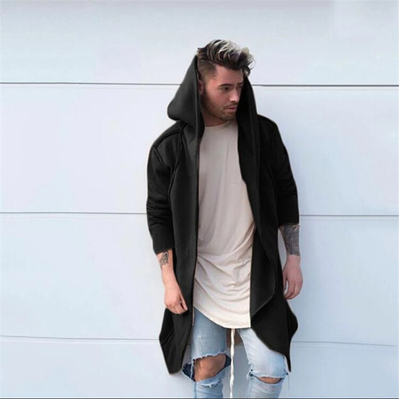 Men Solid Hooded Trench Coat Jackets Cardigan Hoodies Long Sleeve Outwear Blouse Casual Stitch Jacket Men Reflective Jacket