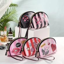 WULI SEVEN New Fashion Women Stripe Cosmetic Bag Portable Leather Travel Makeup Handbag Organizer Toiletry Zipper Storage