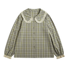 Spring New Design Doll Collar Women's Preppy Style Yellow-green Plaid Shirt Suitable For Teenage Girls Long-sleeved Tops