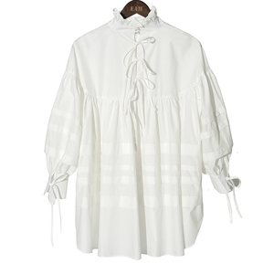 Image 3 - [EAM] blusa de mujer de talla grande con cuello alto nueva camisa holgada de manga larga a la moda Primavera otoño 2020 1D464