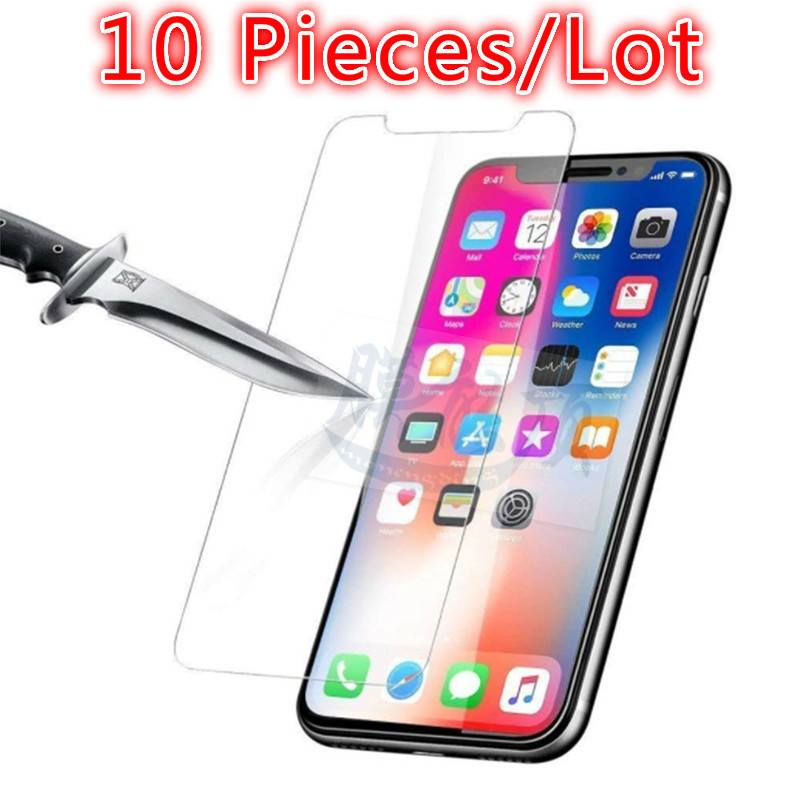 10 Pcs Tempered Glass On For IPhone XR XS Max X 7 8 6 6S Plus 4 4s 5 5S SE 6 8 7 Plus 9H Screen Protector Case Cover Guard Glass image