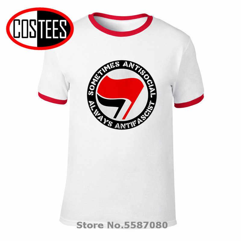 Antifascismo socialista leftist antifa bandeira do logotipo tshirt antifascista t-shirts antifa símbolo t homem às vezes anti-social sempre antifascista camiseta