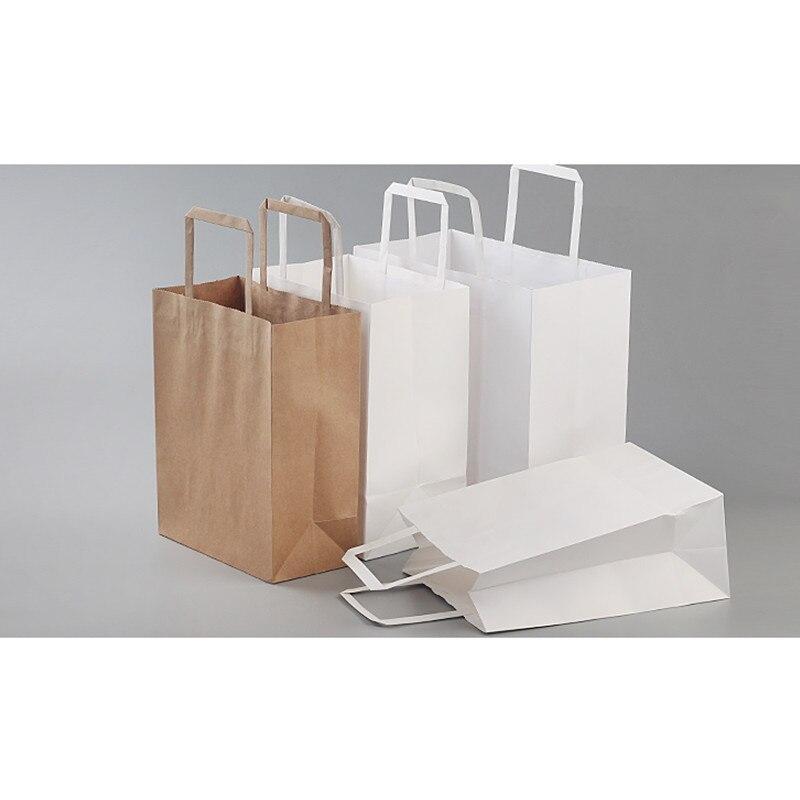 25 pièces papier Kraft épais emballage alimentaire sacs fête anniversaire mariage faveur couleur pure cadeau sac avec poignée accessoires de cuisine - 3
