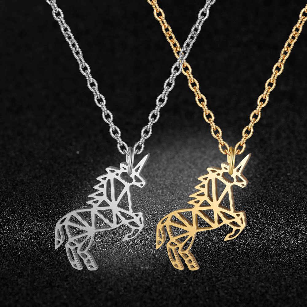 AAAA איכות 100% נירוסטה Flying Unicorn קסם שרשרת לנשים לא להכתים תכשיטי שרשרת אופנה קסם שרשראות