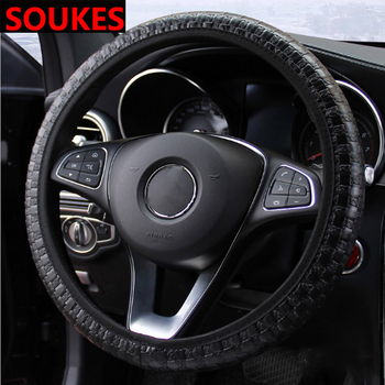 38CM Leather Woven Non-slip Car Steering-wheel Cover For Alfa Romeo 159 BMW E46 E39 E36 E90 Audi A3 A6 C5 A4 B6 B8 Hyundai MG image