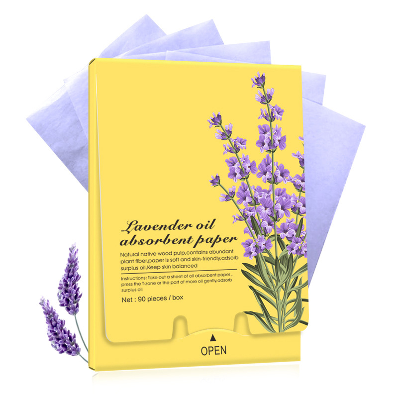 90pcs/box Lavender Flower Oil Absorbent Paper Pores Retractable Cleaning Makeup Accessories QS888