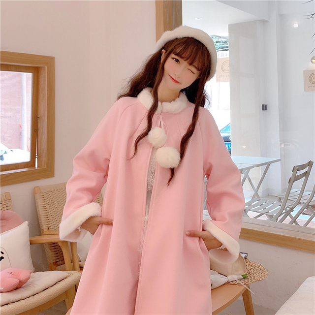 Sweat Outerwear women's autumn and winter 2020 new sweet and lovely wool collar loose tie cloth Cape long student coat 1