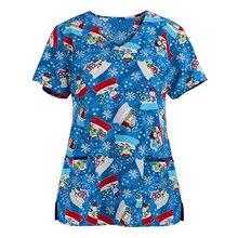Tops Women 2020 Short Sleeve V-Neck Pocket Tops Working Uniform Christmas Thanksgiving Uniforms Short Sleeved Pet Scrubs Costume