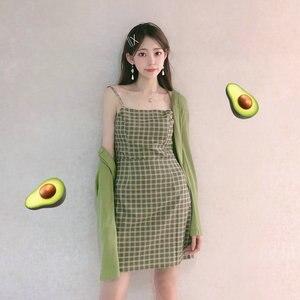 Женское пляжное платье, повседневное зеленое платье без рукавов в клетку, с открытой спиной, лето 2020