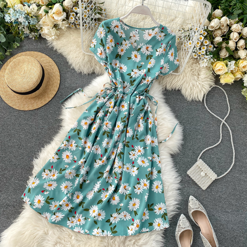 2020 V Neck Vintage Floral Print Chiffon Dress Summer Midi Long Tie Party High Waist Women A-Line Beach Holiday Elegant Dresses