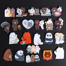 Japanse Anime Bruine Beer Konijn Pin Bears Panda Ice Beer Denim Revers Broches Groothandel Badges Mode Geschenken(China)