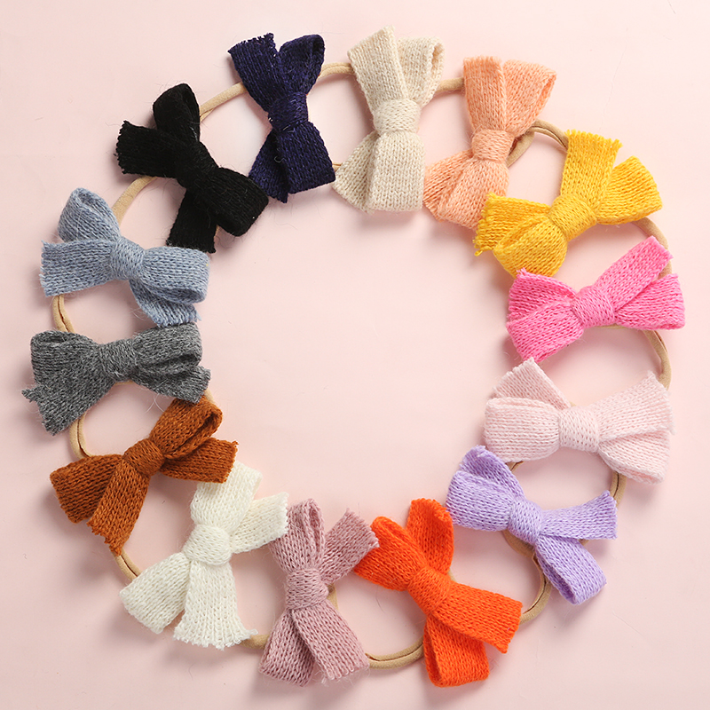 13pcs/lot Handmade Wool Knitted Bows Nylon Hairbands Newborn Super Soft Elastic Nylon Headbands Girls Knot Hair Accessories