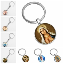 2019 Hot Sale Virgin Mary Glass Cabochon Jewelry Mens Keychain Fashion Ladies Key Chain 3 Pieces From The Batch