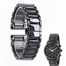 22mm black high grade bright ceramic strap bracelet watchbands for Armani watch AR1507 AR1509 AR1499 ceramic watch
