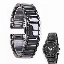 22mm czarny wysokiej jakości jasne ceramiczne pasek bransoletka od zegarków dla Armani zegarek AR1507 AR1509 AR1499 zegarek ceramiczny