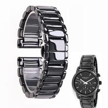 22mm שחור בדרגה גבוהה בהיר קרמיקה רצועת צמיד watchbands עבור Armani שעון AR1507 AR1509 AR1499 קרמיקה שעון