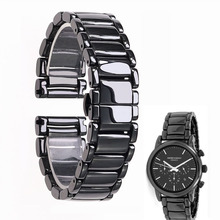 Reloj de cerámica brillante de 22mm negro de alta calidad con correa de cerámica para reloj Armani AR1507 AR1509 AR1499