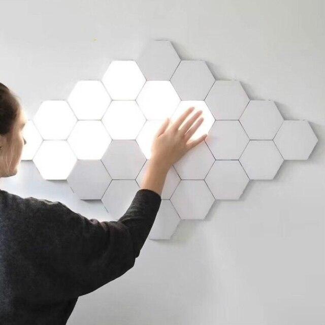 Nowoczesna lampa sufitowa LED loft brytyjski kreatywny Honeycomb modułowy montaż Helios ekran dotykowy lampy lampa kwantowa ściana magnetyczna światło