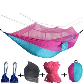цена на Ultralight Outdoor Camping Hunting Mosquito Net Parachute Hammock 2 Person Flyknit Hammock  Garden hammock Hanging Bed