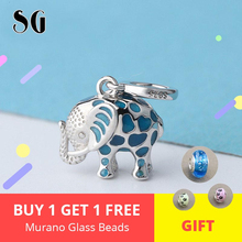 Fit authentic Pandora Bracelet beads 925 silver cute glowing elephant metal animal charms or pendant for DIY women gift