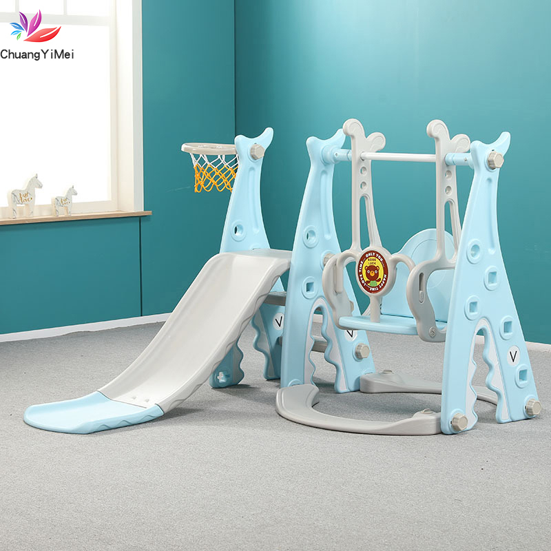 3 In 1 Baby Slides And Swing Chair Basketball Story Home Kids Playground Plastic Slides Set Toy Indoor Family Kindergarten M008