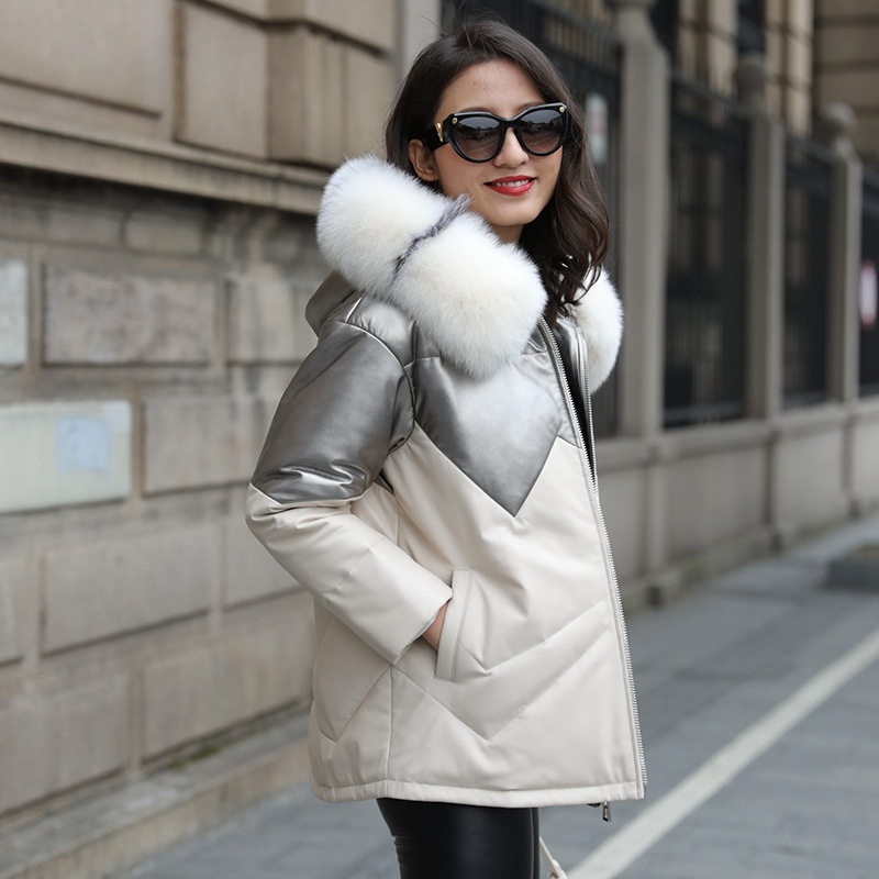 Cute Girl Down Coat  Hooded Jacket with fur collar White Duck Down Short Jackets