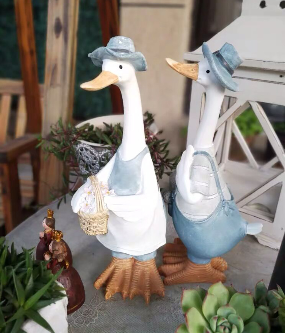 Duck Ornaments Resin Artificial Duck Garden Sculpture Animal Statue Couple Decoration Simulation Pond Decor Landscape Crafts