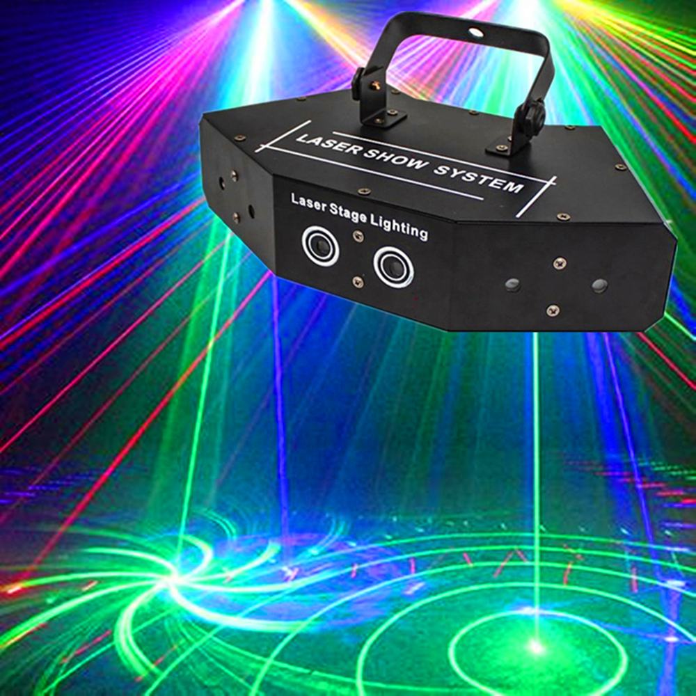6 Lens RGB Scan Laser Light Image Lines Beam Effect Stage Lighting For DJ Dance Bar Party Disco Scan Lighting Laser Show System