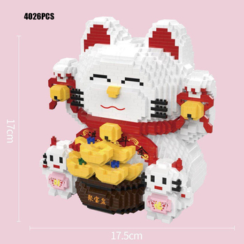 lovely cartoon Fortune Cat micro diamond building block PIGGY BANK assemble nanobricks money pot education toys collection