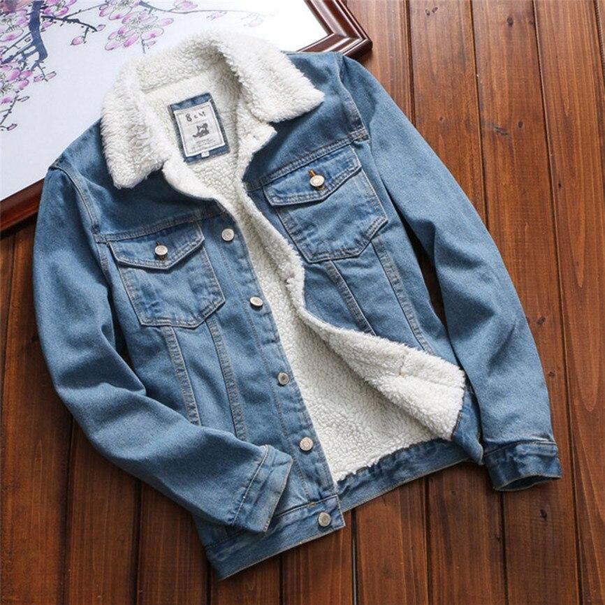 Women Denim Jacket With Fur Women Autumn Winter Denim Jacket Warm Upset Jacket Vintage Long Sleeve Loose Jeans Coat Outwear on AliExpress