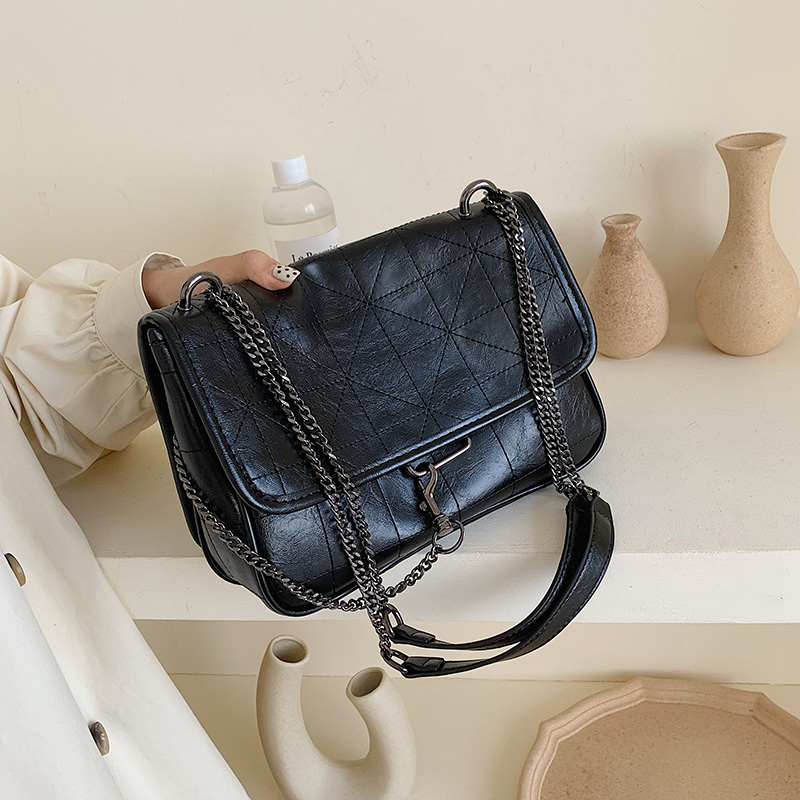 Vintage Leather Crossbody Bags For Women 2020 Chain Small Shoulder Messenger Bag Female Solid  Color Handbags