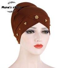 2020 muçulmano turbante cachecol para mulher islâmica interior caps árabe envoltório cabeça cachecóis femme mujer frisado esponja manga boné toque