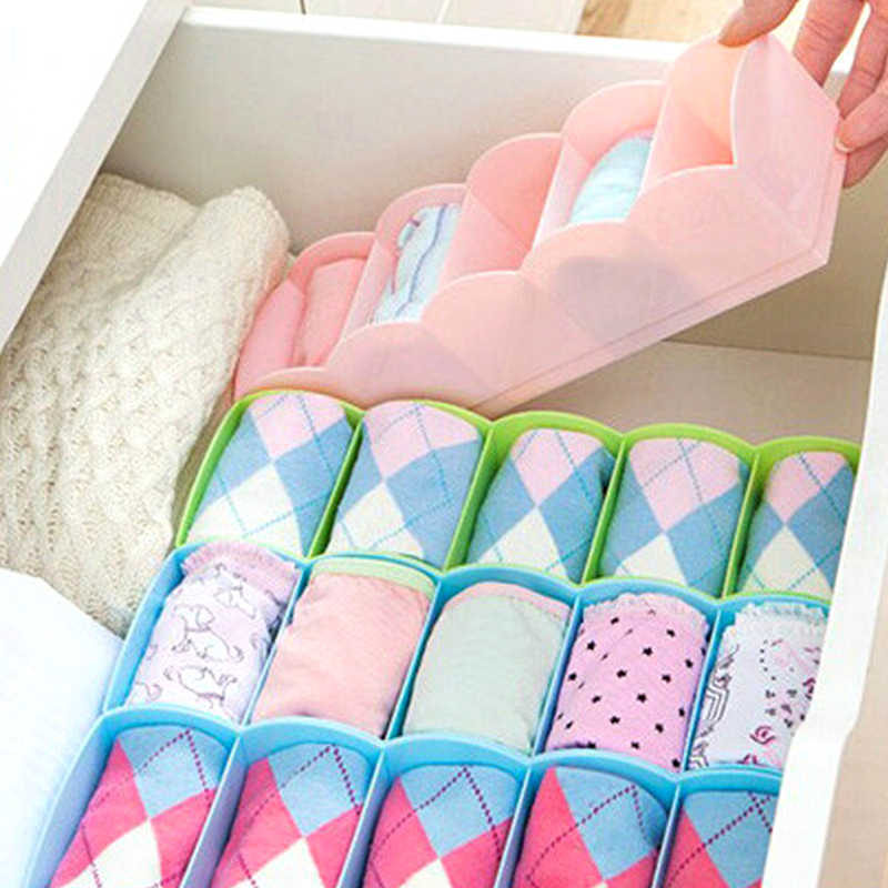 1Pc Plastic Multi-function Desktop Drawer Storage Box Five Grid Underwear Storage Box Socks Bra Ties Cell Sorting Box Organizer