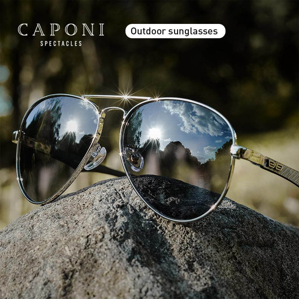 CAPONI Pilot Men's Sunglasses Polarized Color Change Classic TR90 Eyewear Outdoor Day Night Driving Sun Glasses For Women BS3110